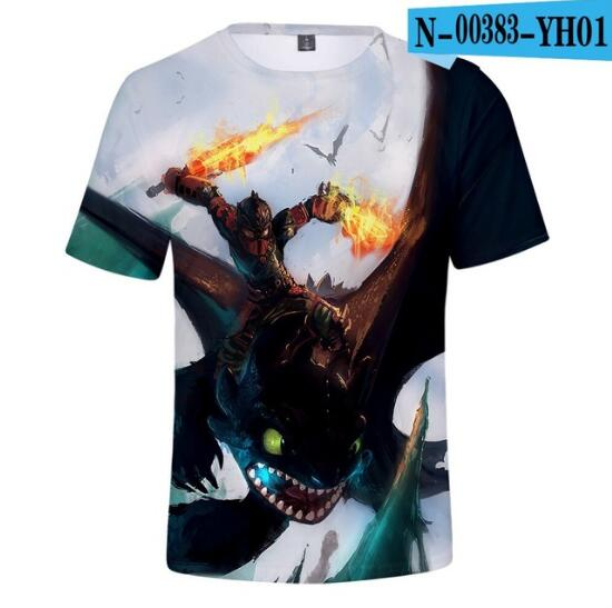 Tops T-Shirt Train Toothless Short-Sleeve Childen Cartoon Summer How Anime Cool Boy 3D