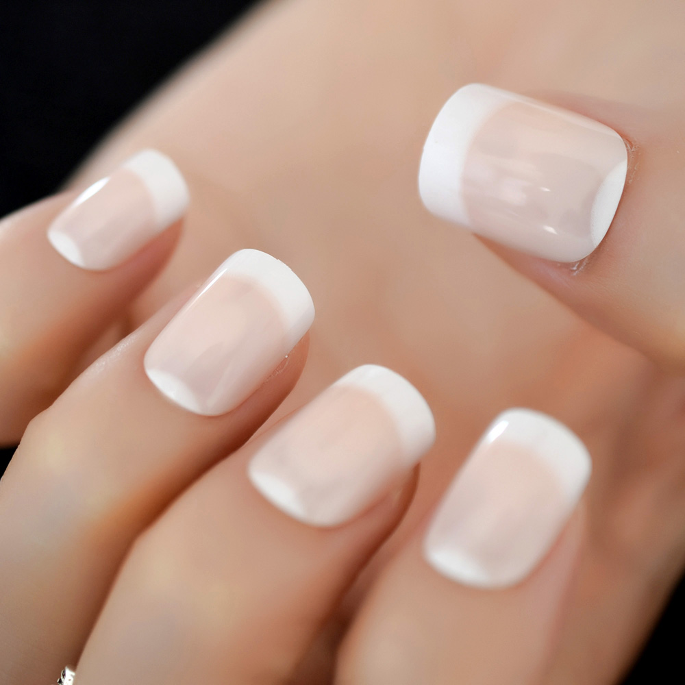 Classical Natural French Nail with White Moo Shiny Nude