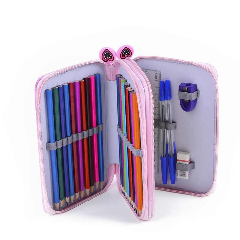 โรงเรียนน่ารักดินสอกรณี Kawaii 2 ชั้น 32 หลุม Penal Pencilcase ปากกาขนาดใหญ่กระเป๋าสำหรับ Boys Girls กล่องเครื่องเขียนกระเป๋าอุปกรณ์