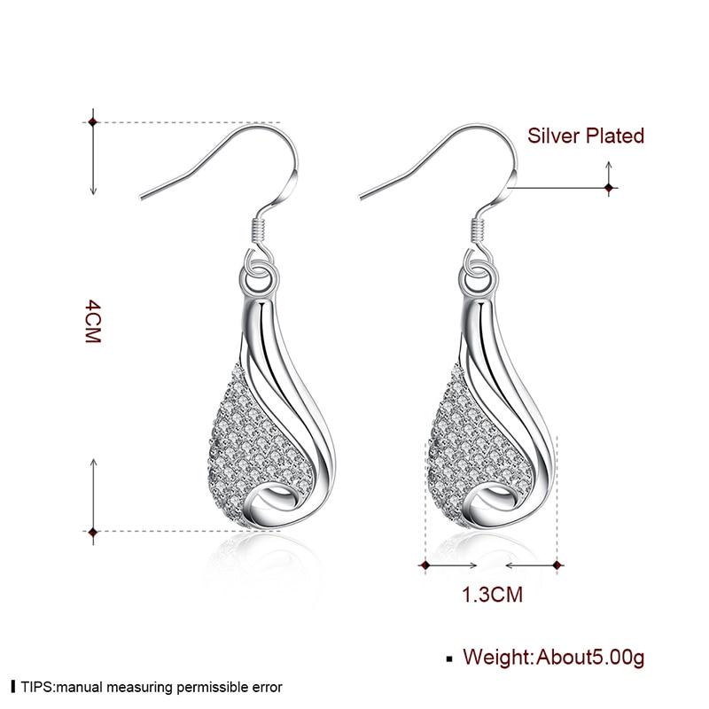 Drop Earrings Fashion Women Botte Crystal Hollow Silver Earrings