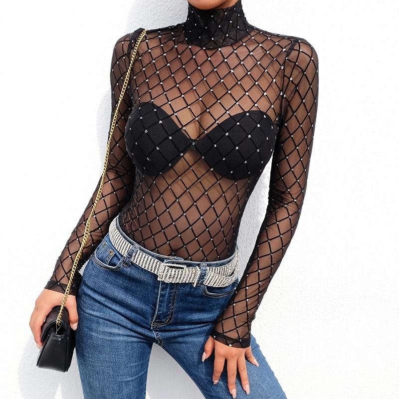 women sexy mesh fish net sequined hollow out bodysuits ladies black argyle turtleneck long sleeve night club bar basic t-shirts