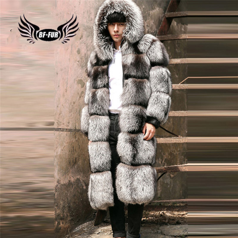 2018 Real Fur Jackets Mens Luxury Silver Fox Fur Outerwear X-Long Oversize Men's Leather Jackets With Hood Real Fur Coat