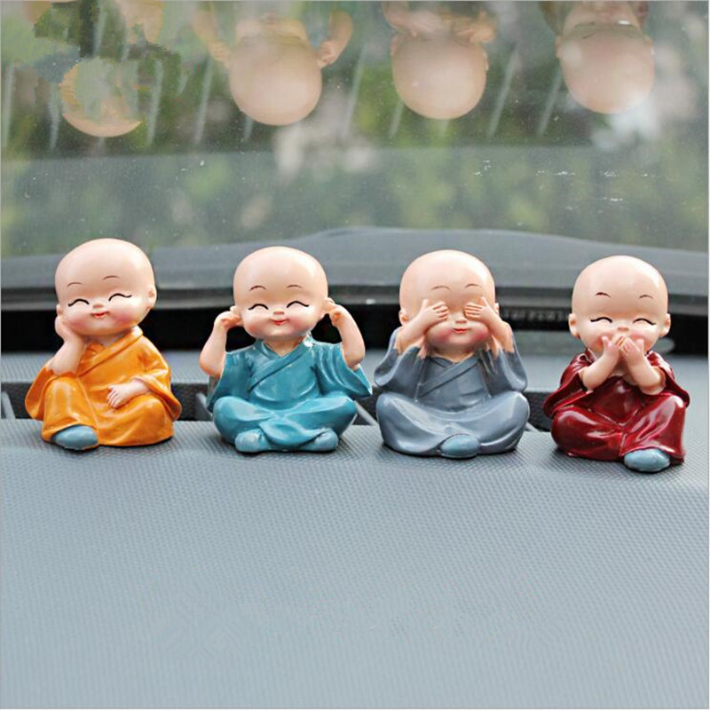 4pcs set gongfu little monk figurines car dolls decoration for Figurine decoration jardin