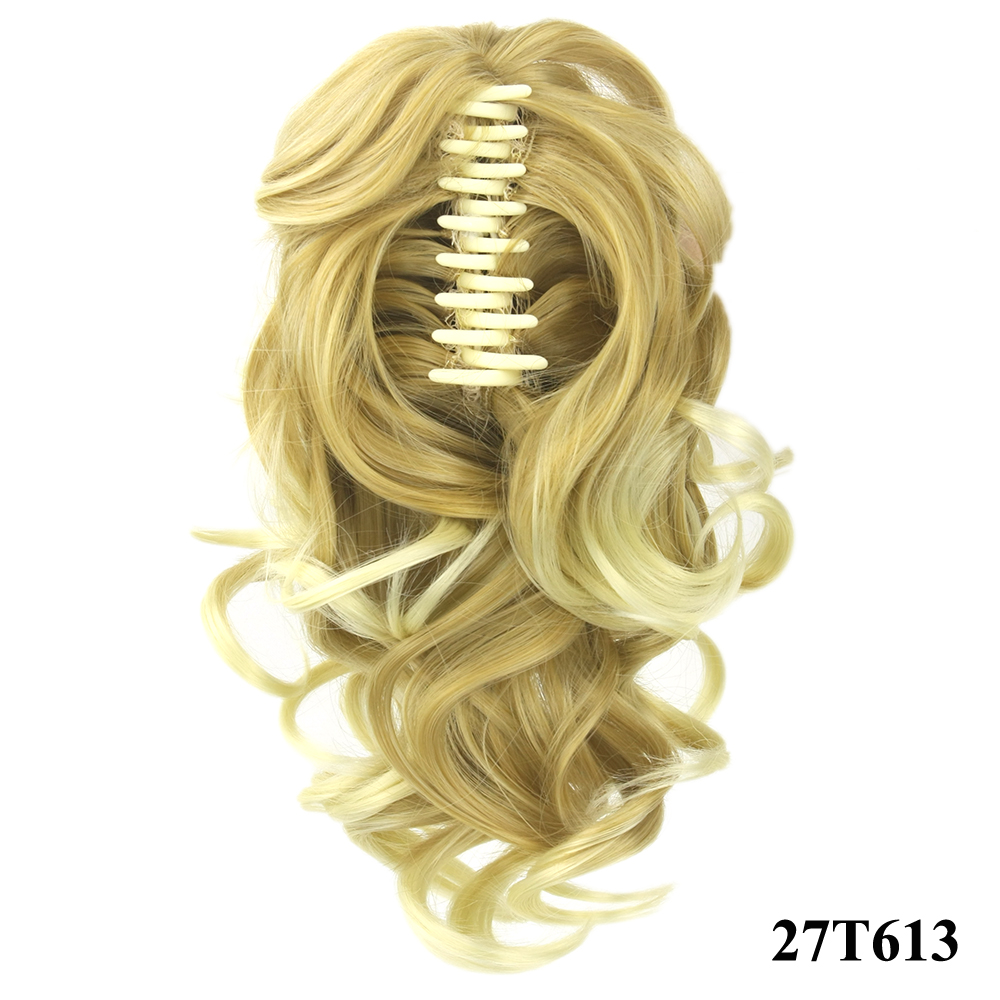 HTB1NryiQVXXXXciXFXXq6xXFXXXx - Soowee 8 Color Curly High Temperature Fiber Synthetic Hair Pony Tail Hairpiece Blonde Gray Clip In Hair Extensions Claw Ponytail