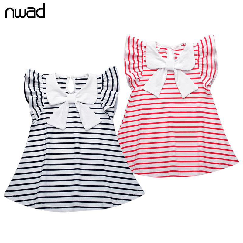 Baby Girl Striped Dress 2017 New Brand Princess Bow Toddler Girls Dresses Summer Sleeveless Baby Kids Cotton Clothing FA004