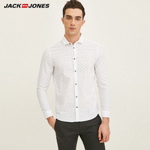 JACK&JONES Brand 2018 NEW smart casual style print full length sleeves 100% COTTON turn-down collar male shirts| 217105528(China)