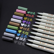 10 pcs Lot Metallic micron pen Detailed marking color Metal marker for album black paper drawing