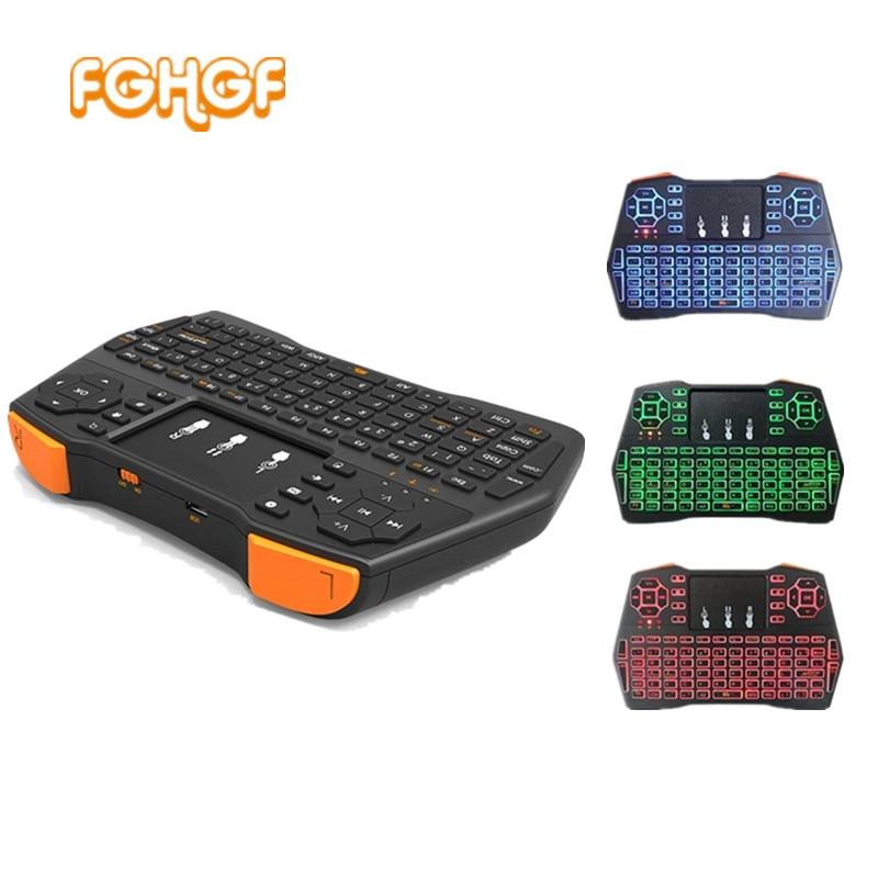 VIBOTON i8 Plus De Poche Rétro-Éclairage Mini Clavier Sans Fil TouchPad Pour TV Box Gaming Air Mouse Télécommande Russe Espagnol