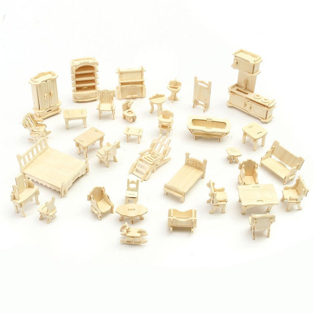 34 Pcs/Set 3D Wooden Miniature Dollhouse Furniture Model Mini Puzzle Toys Wooden Children Pretent DIY House Toys YH-17