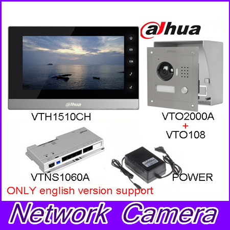 Original English Brand VTH1510CH Color Monitor with VTO2000A outdoor IP camera Video Intercom system with VTO108 box original 7 inch touch screen brand vth1510ch color monitor with vto2000a outdoor ip metal villa outdoor video intercom sysytem