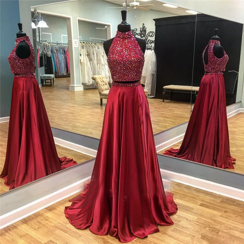 Two Pieces Halter backless Beaded   Bridesmaid     Dresses