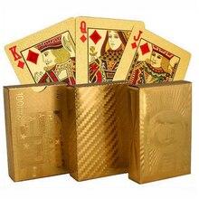 Golden Playing Cards Gold Foil Poker Set Euro Dollar Grid Gold Plastic Foil Poker Durable Waterproof Cards Board Game все цены