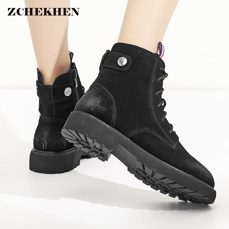 2018 New Women Cow Suede Chelsea Boots Zipper Winter Motorcycle Martin Boots British Style Low Heel Black Ankle Boots Plus Size british style suede and chunky heel design women s ankle boots