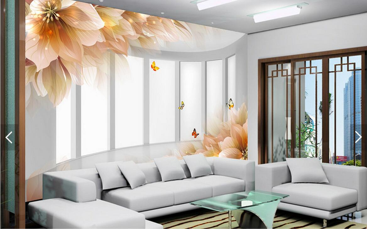 Embossed lily flower butterfly abstract wall mural photo wallpaper embossed lily flower butterfly abstract wall mural photo wallpaper for living room wall paper murals 3d flowerspapel de parede in wallpapers from home amipublicfo Gallery