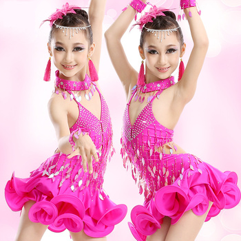 110-170cm Professional children kid Latin dance clothing new girls tassel Latin dance skirt costumes competition dress 2 colors