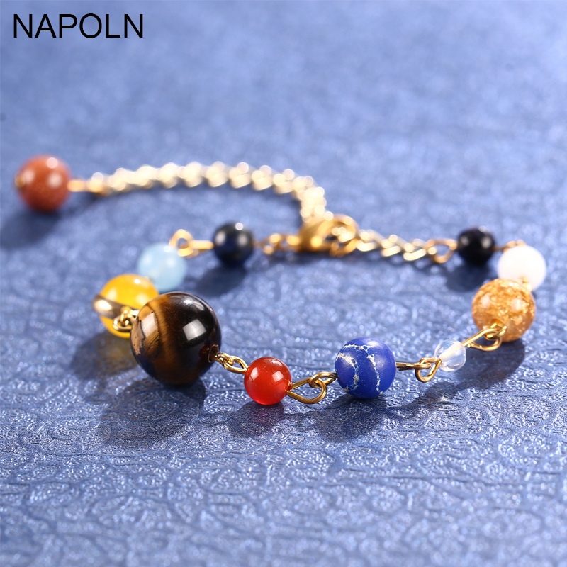 NAPOLN Stone Bracelet Universe Galaxy The Eight Planets in the Solar System Guardian Star Bracelet For Women Men Gift Wholesale