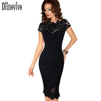 Womens Elegant Lace Dress Sexy Crochet Hollow Out Pinup Party Dresses Evening Sheath Fitted Bodycon Vestidos
