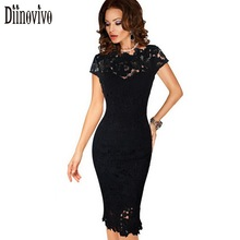Womens Elegant Lace Dress Sexy Crochet Hollow Out Pinup Party Dresses Evening Sheath Fitted Bodycon Vestidos Dress Female D206