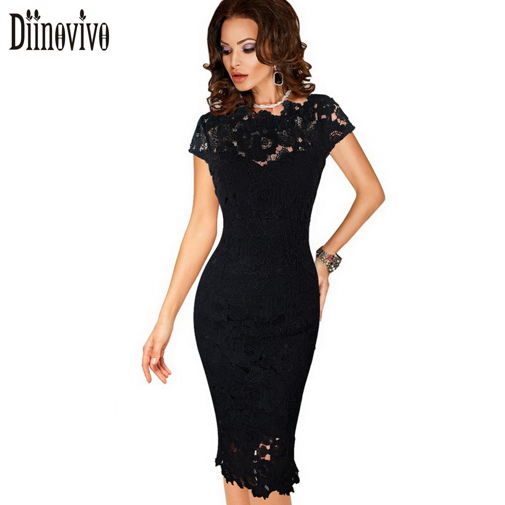 Womens Elegant Lace Dress Summer Sexy Crochet Hollow Out Pinup Party Dresses Evening Sheath Bodycon Vestidos