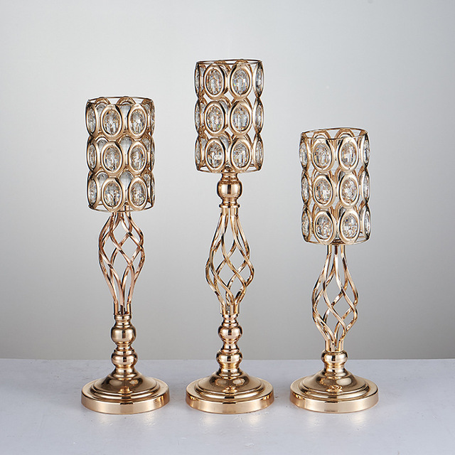 Wholesale 20 Pieces Gold Metal Rhinestone Flower Ball Holder Stand