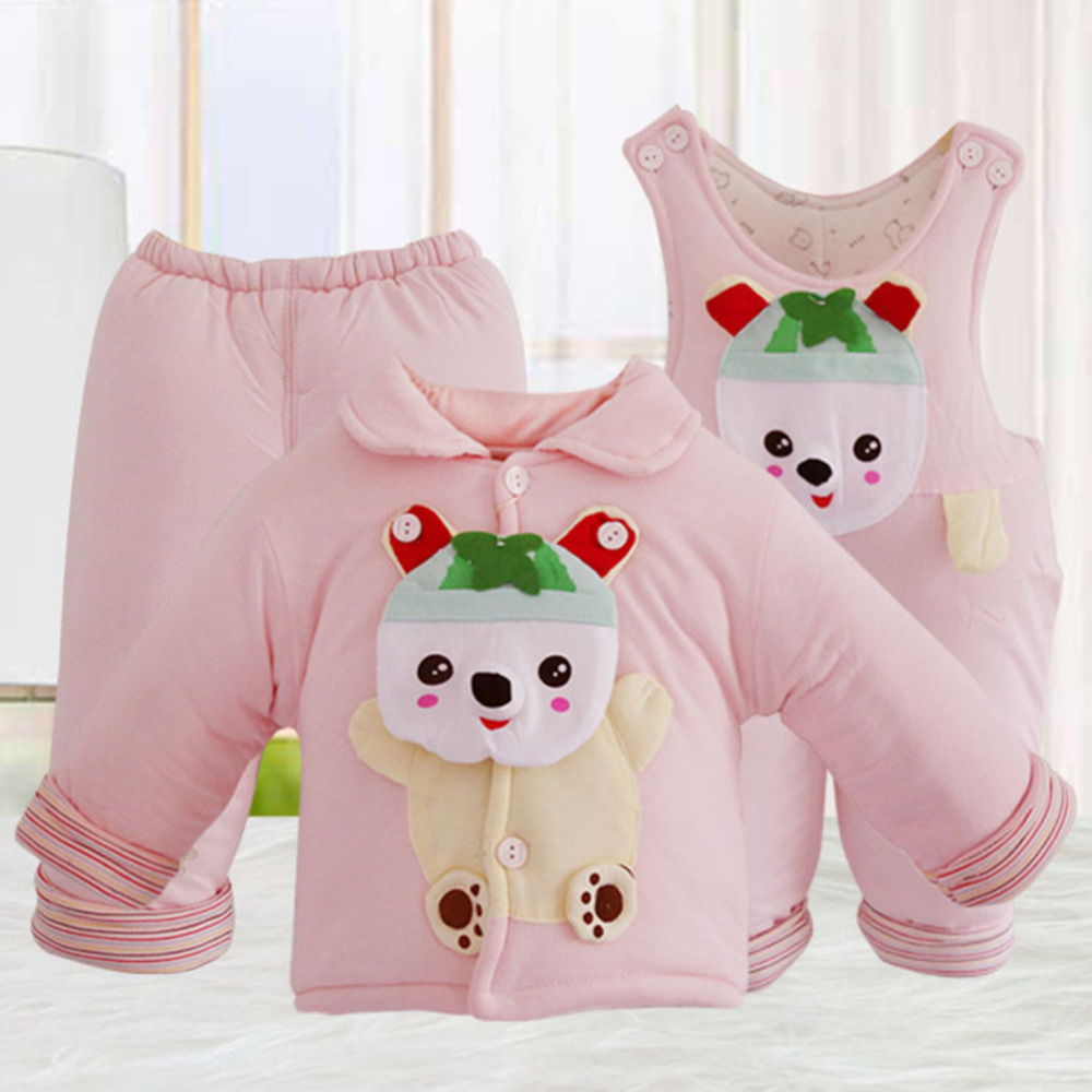 3Pcs Comfortable Warm Baby girl boy Autumn Winter Clothing Set Newborn Thick Cotton Padded Clothes Boys Girls Tops Pant cotton baby rompers set newborn clothes baby clothing boys girls cartoon jumpsuits long sleeve overalls coveralls autumn winter