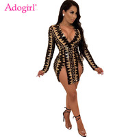 Adogirl Black Gold Stripe Sequins Slits Night Club Dress Women Sexy Deep V Neck Long Sleeve Bodycon Mini Party Dresses Outfits