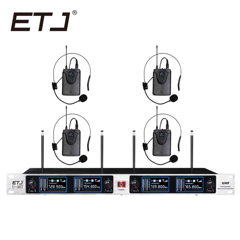 Free Shipping Wireless Microphone System ETJ U407 Professional Microphone 4 Channel Dynamic 4 Headset Microphone + Karaoke