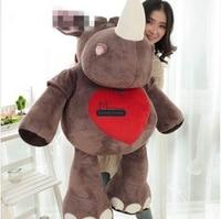 Dorimytrader 110cm Huge Animal Rhinoceros Plush Toy Soft Stuffed Emulational Rhinoceros Cartoon Heart Doll Free Shipping DY61262