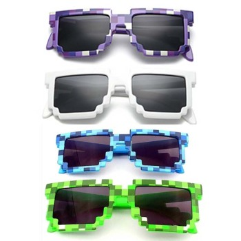 4 color! Fashion Minecrafter Sunglasses Kids cos play action Game Toys Square Glasses with EVA case gifts for Men Women