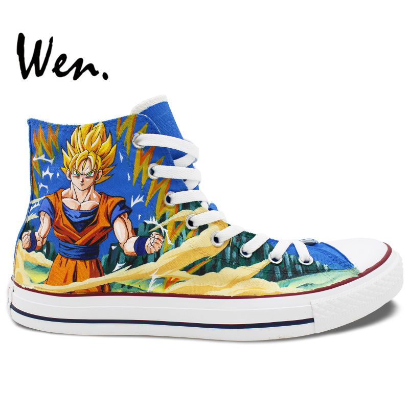 Prix pour Wen Chaude Anime Peint À La Main Chaussures de Conception Personnalisé Dragon Ball Hommes Femmes High Top Toile Sneakers pour Présente