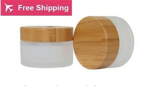 цена на free shipping 50g 10 pcs / lot Cosmetics bottle jar / glass Wood cover Frosted glass makeup packing box