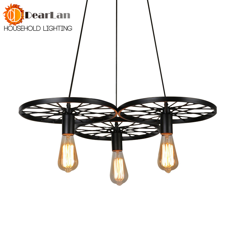 Wheel Shape Slack Iron Wrought  Iron Pendant Lamp Edison  Pendant light 110V-240V E27 Metal Black Pendant Lights For Living Room gibbon slack line classiс 15m