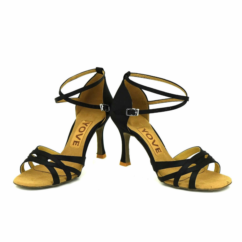 ФОТО YOVE Customizable Dance Shoes Satin Latin/Salsa Dance Shoes Women's 3.25