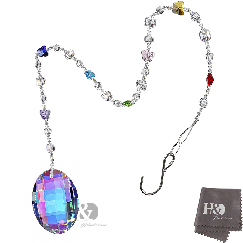 hu0026d 76mm colorful oval drop hanging crystals chandelier prisms garland wedding home chakra pendants ornament free crystal wipes