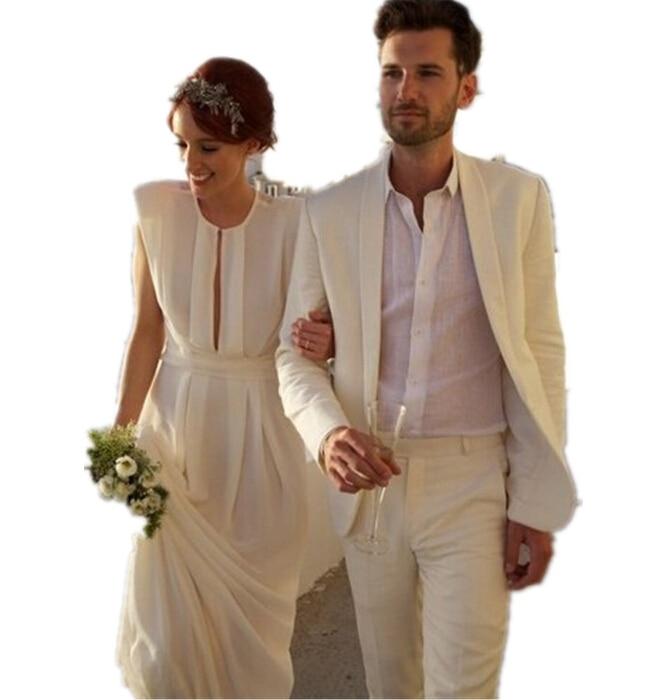 La moda del novio smoking traje hombres playa de la boda Champagne juego customColor ( chaqueta ...