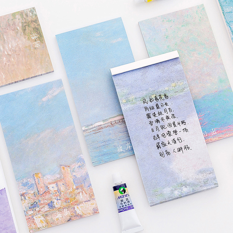 Creative Oil Painting Memo Pad N Times Sticky Notes Memo Notepad Cute Planner Stickers Bookmark Bullet Journal Stationery