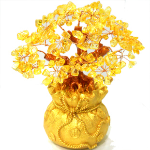 natural Crystal lucky tree, the lucky feng shui tree as the mascot, bring in wealth and treasure fortune tree!