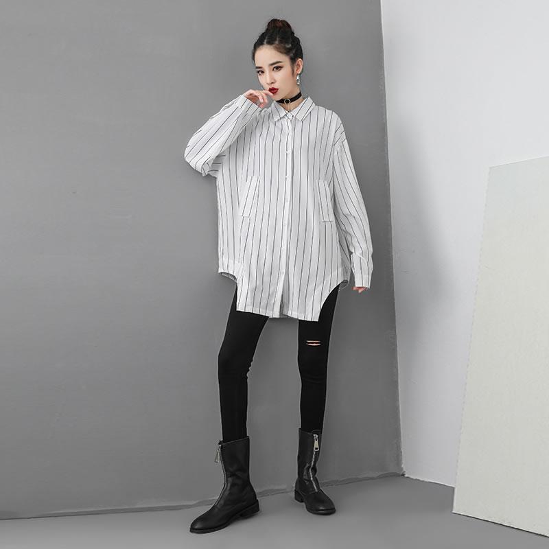[XITAO] Cardigans Women Europe Fashion Turn-down Collar Full Sleeve Loose Striped Shirt Female Irregular Button Blouse WBB1466 4