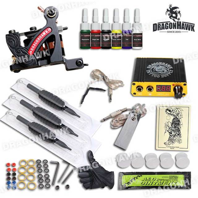 Complete Lining Tattoo Kit Set Tattoo Machine Professional Mini Power Needles Grips Supplies