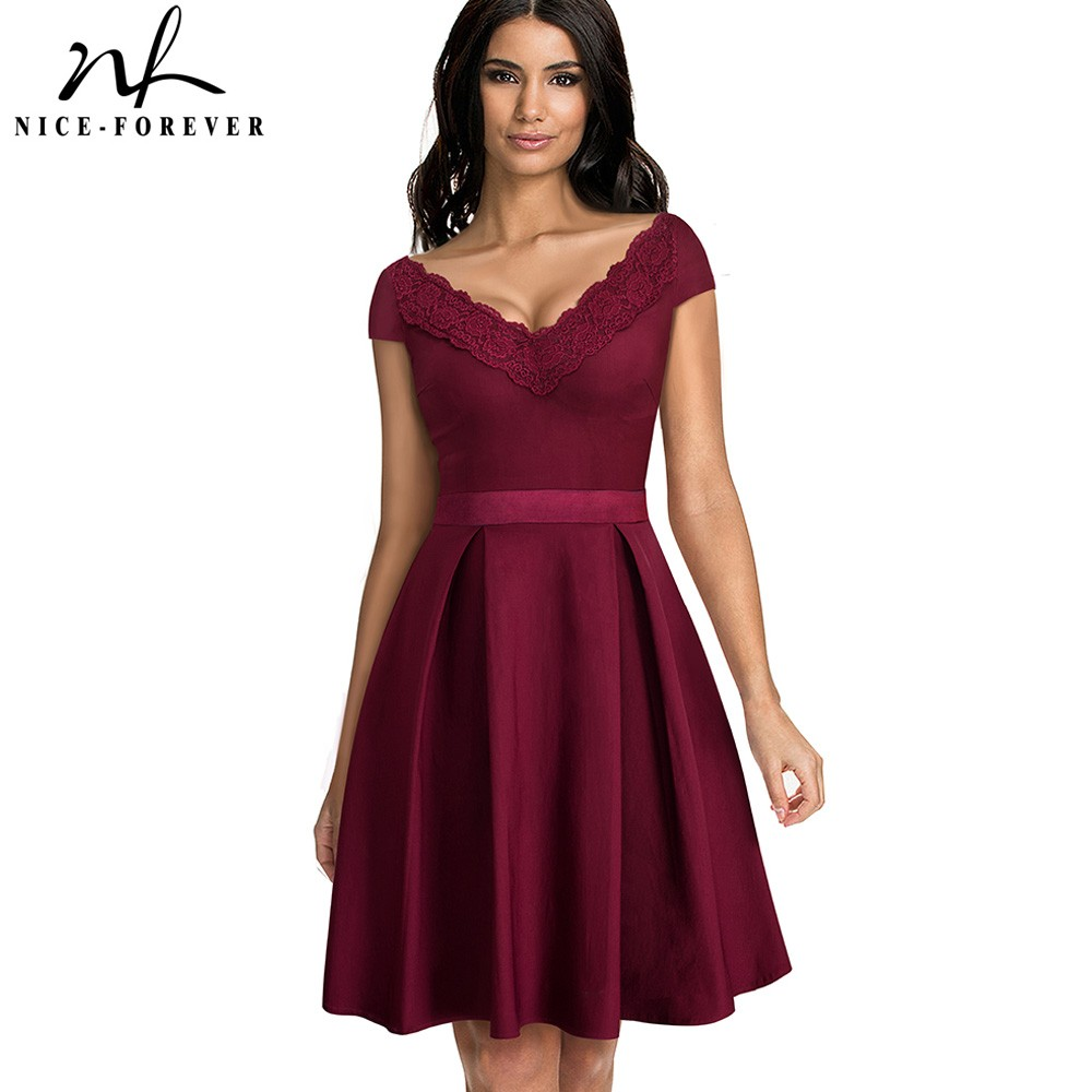 Nice-forever Sexy V-necking with Embroidery Lace Patchwork Dresses Cocktail Party Flared Women Dress btyA077