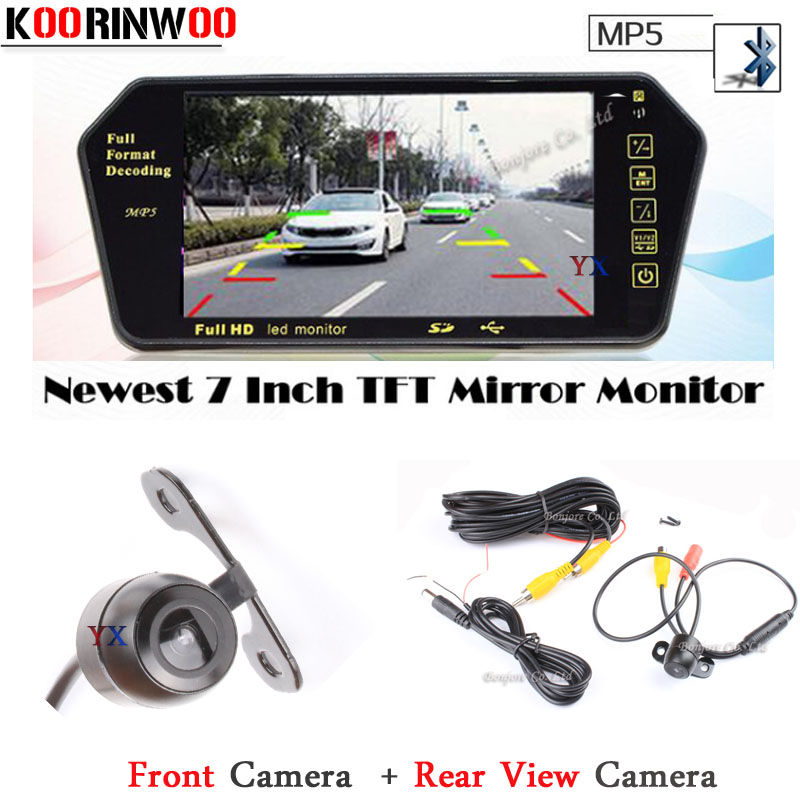 Free Shipping Auto 7 Display Mirror Bluetooth MP5/MP4 FM HD Car Rear view camera Front camera Form Reversing Parking System auto backup rear licence plate rearview camera with 7 inch bluetooth mp5 tft display monitor mirror usd fm slot free shipping