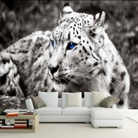 Free Shopping Modern Fashion Ferocious Leopard Photo Wallpaper Mural Living Room Bedroom Decoration Backdrop Wall