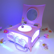 1pc pink music box with dancing girl flashing light ballet girl To Alice music box jewelry