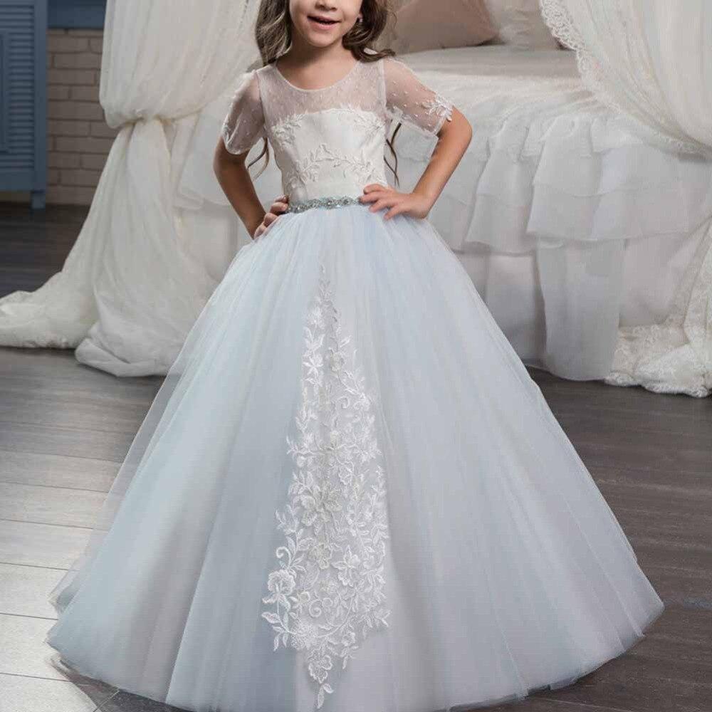 Модное платье для девочек бальное платье с короткими рукавами, длинное платье детское платье принцессы на шнуровке с вышивкой для первого п
