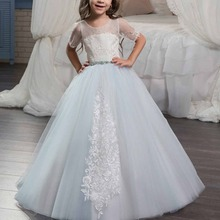 Fashion Girls Dress Ball Gown Short Sleeve Long Dress Baby Kid Lace-up Embroidery First Communion Wedding Party Princess Dress