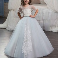 Fashion Girls Dress Ball Gown Short Sleeve Long Dress Baby Kid Lace up Embroidery First Communion Wedding Party Princess Dress