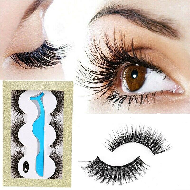 3 Pairs Extension Eye Lashes Natural Thick False Fake Eyelashes Long Set Makeup
