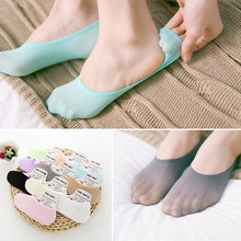 Sale 1Pair Silk Short Socks Candy Color Summer Breathable Silicone Antiskid Invisibility Comfortable