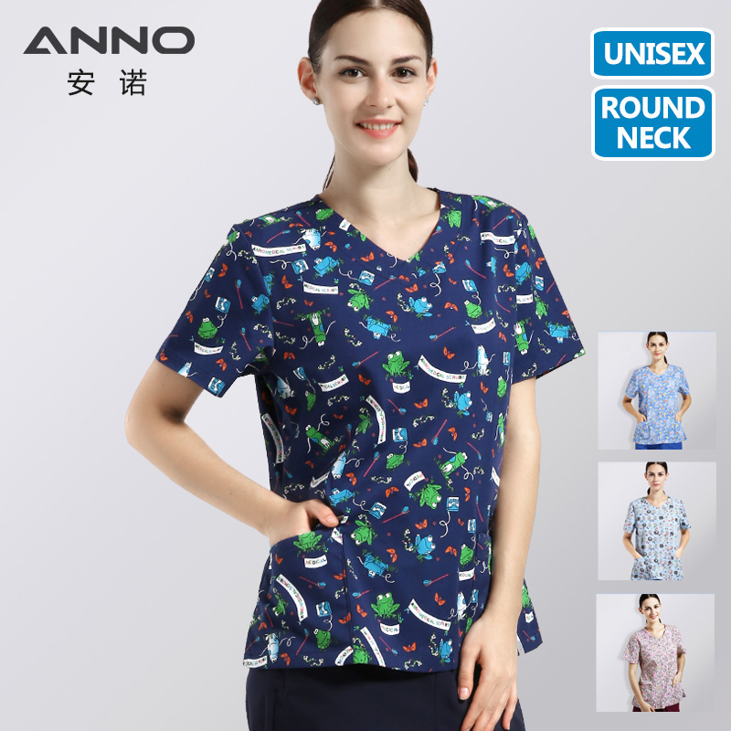 ANNO Printed Medical Clothes Round Neck Nurse Uniforms For Women Men Beauty Salon Dental SPA Work Wear Medical Equipment(China)