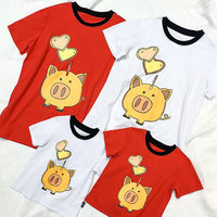 2PCS/SET Adult Kids T shirts Family Matching Clothes White Red Short Sleeve Summer Tops Mother Father Girls Boys Shirt Plus Size